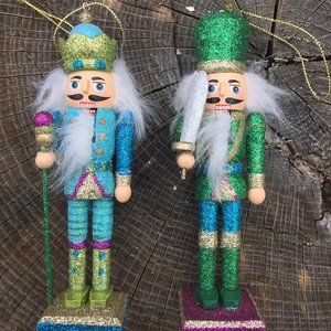 Lot of 2 Wooden Nutcracker Soldier Christmas